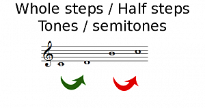 Whole steps & half steps (Tones & semitones)