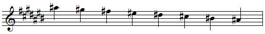 A sharp descending melodic minor scale