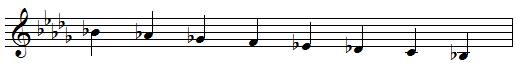 B flat descending melodic minor scale