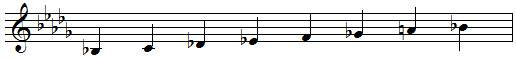 B♭ harmonic minor scale