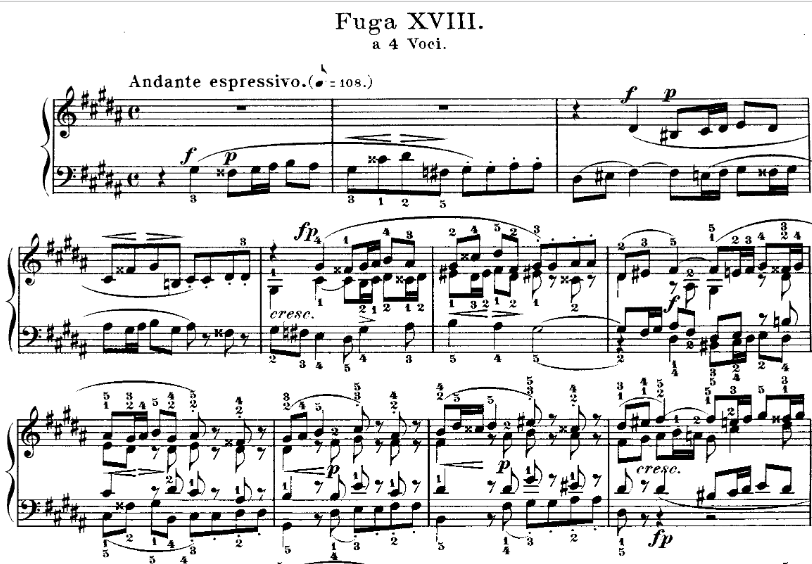 Fugue n°18 BWV 863 in G sharp minor(book 1 of the Well-Tempered Clavier) by J.S. BACH