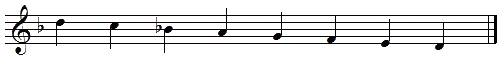 D descending melodic minor scale