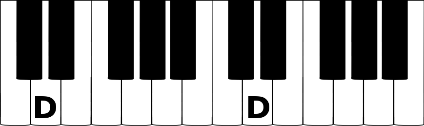 D music note on a piano keyboard