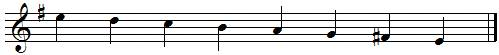 E descending melodic minor scale