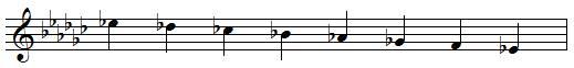 E♭ descending melodic minor scale
