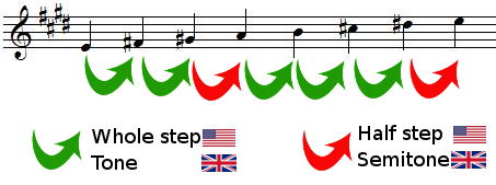 whole steps and half steps in E major scale