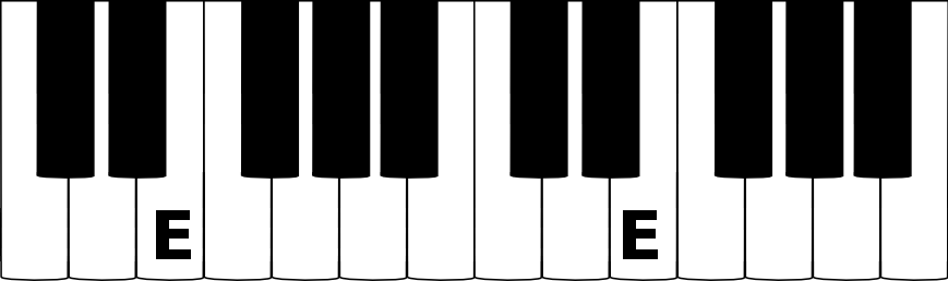 E music note on a piano keyboard