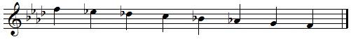 F descending melodic minor scale