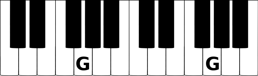 G music note on a piano keyboard[