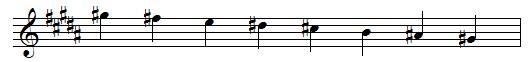 G♯ descending melodic minor scale