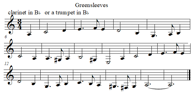 Greenleeves in B flat from F
