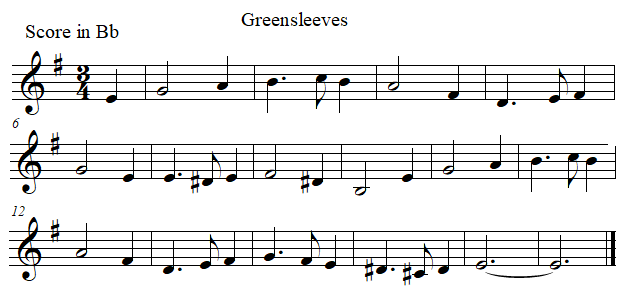 Greenleeves in B flat