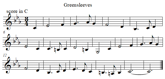 Greenleeves in C from B flat