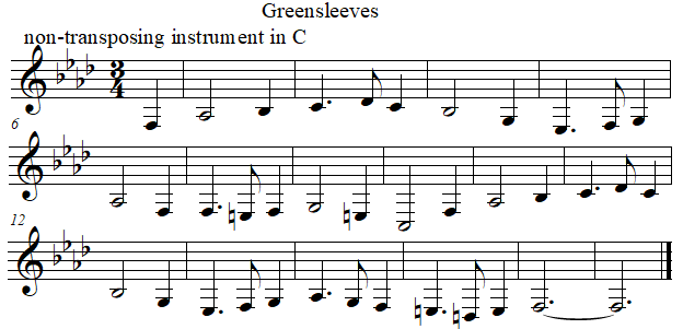 Greenleeves in C from E flat