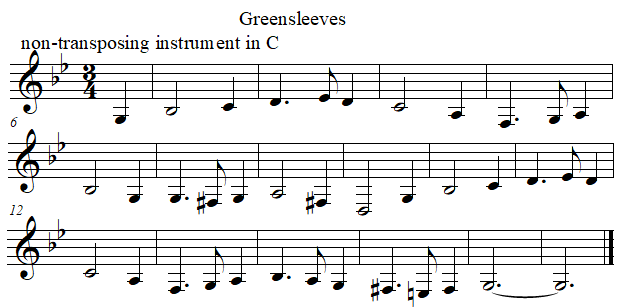 Greenleeves in C from F