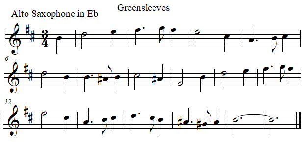 Greenleeves in E flat, saxophone alto