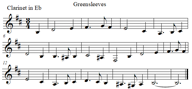 Greenleeves in E flat, clarinet in E flat