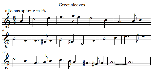 Greenleeves in E flat from B flat