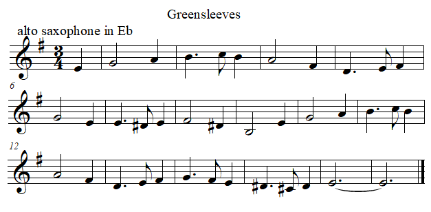 Greenleeves in E flat from F