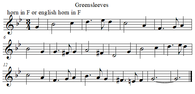 Greenleeves in F from B flat