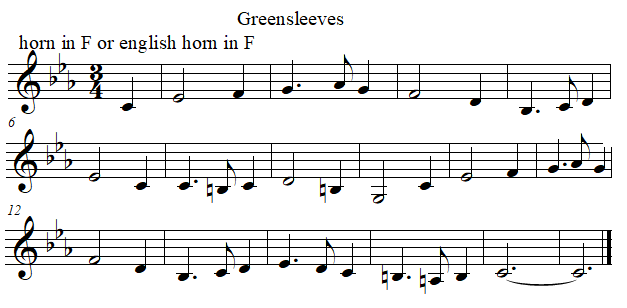 Greenleeves in F from E flat