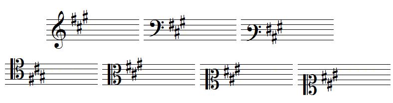 key signature 3 sharps