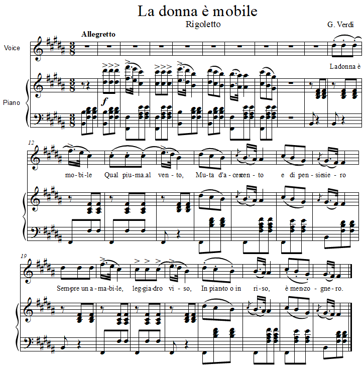 La Donna è Mobile, Rigoletto, by Verdi