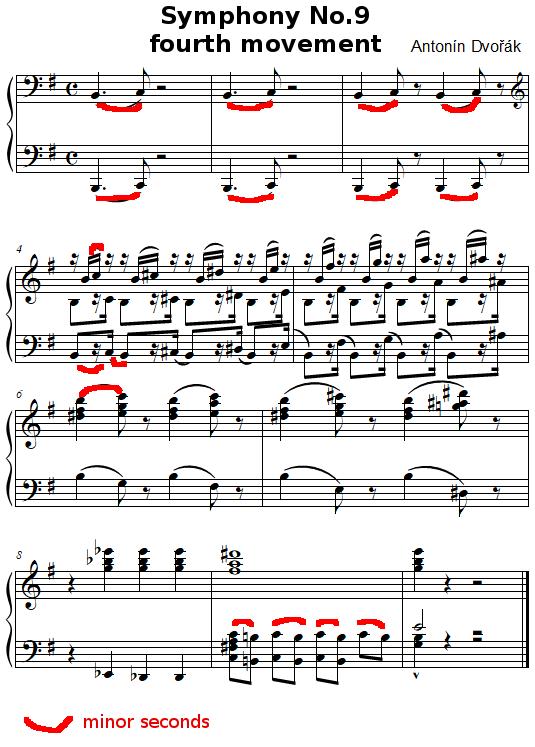 Minor seconds in Dvorak Symphony No.9, fourth movement