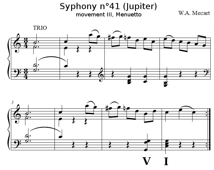 Symphony n°41, movement III, trio, by W.A. Mozart