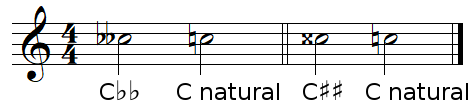 Naturals and doubles accidentals