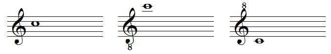 Octave treble clefs