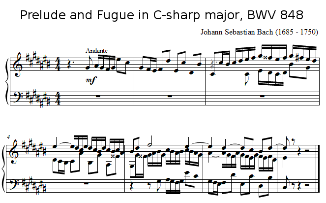 Prelude and Fugue in C-sharp major, BWV 848 J.S. BACH
