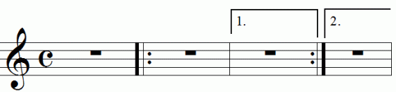 Repeat signs with first and second endings, animation frame 1