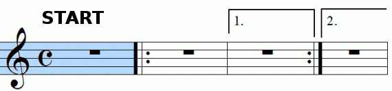 Repeat signs with first and second endings, animation frame 2