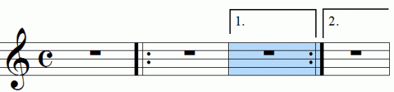 Repeat signs with first and second endings, animation frame 4