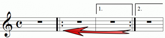 Repeat signs with first and second endings, animation frame 5