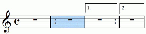 Repeat signs with first and second endings, animation frame 6