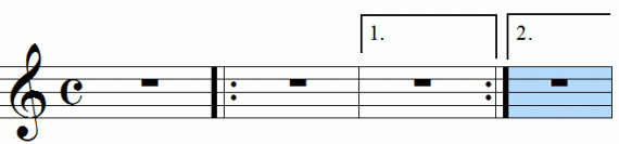 Repeat signs with first and second endings, animation frame 7