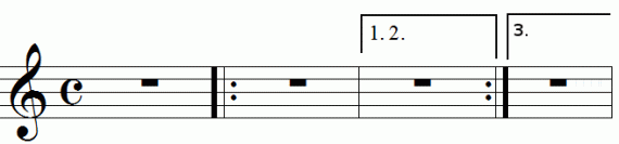 Repeat signs with multiples endings