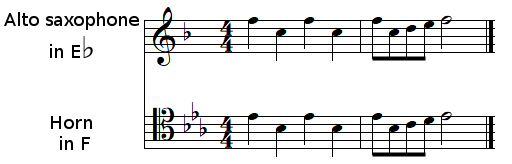 transpose at sight from E♭ to F using a tenor clef